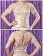 Syrena Dekolt w Serek Do Podłogi Tulle Charmeuse Suknia dla Mamy Panny Młodej Z Żabot Perełki Naszywki Cekiny (008006174)