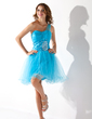 Çan/Prenses Tek-Omuzlu Kısa/Mini Taffeta Tulle Mezunlar Gecesi Elbisesi Ile Büzgü Boncuklama (022010633)