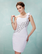 Sheath/Column One-Shoulder Short/Mini Chiffon Cocktail Dress With Ruffle Beading Flower(s) Sequins (016021208)