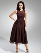 A-Line/Princess Scoop Neck Tea-Length Chiffon Bridesmaid Dress With Ruffle (007014833)