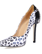Leatherette Stiletto Heel Pumps Closed Toe With Animal Print Chain shoes (085016541)