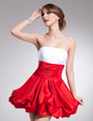 Empire Strapless Short/Mini Taffeta Homecoming Dress With Ruffle (022021063)
