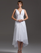 A-Line/Princess V-neck Asymmetrical Chiffon Wedding Dress With Ruffle Beading (002004593)