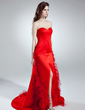 Trumpet/Mermaid Sweetheart Sweep Train Satin Prom Dress With Feather Split Front (018016100)