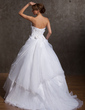 A-Line/Princess Strapless Court Train Satin Organza Wedding Dress With Ruffle Flower(s) (002014927)