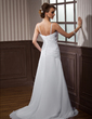 A-Line/Princess Sweetheart Court Train Chiffon Wedding Dress With Ruffle Beading Crystal Brooch (002011468)