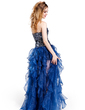 A-Line/Princess Sweetheart Floor-Length Organza Prom Dress With Beading Sequins Cascading Ruffles (018019095)