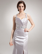 Trumpet/Mermaid Sweetheart Watteau Train Charmeuse Evening Dress With Ruffle Beading Split Front (017016338)
