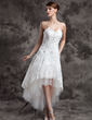 A-Line/Princess V-neck Asymmetrical Organza Tulle Wedding Dress With Beading Appliques Lace (002024067)