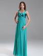 Empire Sweetheart Floor-Length Chiffon Charmeuse Chiffon Charmeuse Maternity Bridesmaid Dress With Ruffle Flower(s) (045022487)