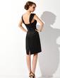 Sheath/Column Square Neckline Knee-Length Satin Cocktail Dress With Ruffle (016021138)