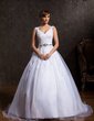 Ball-Gown V-neck Court Train Organza Wedding Dress With Ruffle Lace Beading (002015169)