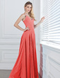 A-Line/Princess V-neck Floor-Length Chiffon Bridesmaid Dress With Ruffle Beading (007013074)