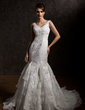 Trumpet/Mermaid V-neck Chapel Train Tulle Lace Wedding Dress With Beading Pleated (002001280)
