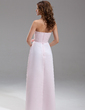 Sheath/Column Strapless Floor-Length Satin Bridesmaid Dress With Ruffle Bow(s) (007001777)