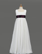 Empire Floor-length Flower Girl Dress - Chiffon/Taffeta Sleeveless Scoop Neck With Sash (010005914)