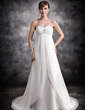 Empire Sweetheart Court Train Chiffon Wedding Dress With Ruffle Beading (002016906)