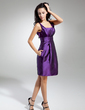 Sheath/Column Scoop Neck Knee-Length Taffeta Homecoming Dress With Ruffle Flower(s) (022014926)