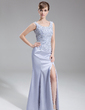 Trumpet/Mermaid Scoop Neck Sweep Train Charmeuse Mother of the Bride Dress With Lace Beading Sequins Split Front (008016261)