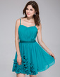 A-Line/Princess Sweetheart Short/Mini Chiffon Homecoming Dress With Ruffle Flower(s) (022028088)