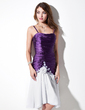 A-Line/Princess Sweetheart Asymmetrical Chiffon Charmeuse Homecoming Dress With Ruffle Appliques Lace Flower(s) (022010095)