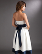 A-Line/Princess Strapless Knee-Length Satin Wedding Dress With Sash Bow(s) (002000067)