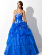 Ball-Gown Sweetheart Floor-Length Organza Quinceanera Dress With Ruffle Appliques Lace Sequins (021004707)