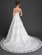 Ball-Gown Strapless Chapel Train Tulle Wedding Dress With Lace Beading Sequins (002011774)