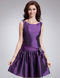 A-Line/Princess Scoop Neck Knee-Length Taffeta Cocktail Dress With Sash Bow(s) (016008841)