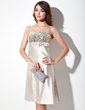 Empire Knee-Length Charmeuse Sequined Homecoming Dress With Bow(s) (022003357)