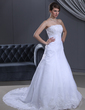 A-Line/Princess Strapless Court Train Satin Organza Wedding Dress With Ruffle Lace Beading (002000385)