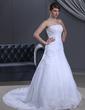 A-formet/Prinsesse Stroppløs Bane-tog Satin Organza Brudekjole med Frynse Blonder Perlebesydd (002000385)
