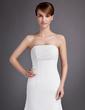 Forme Princesse Sans bretelle Traîne moyenne Mousseline Robe de mariée avec Plissé (002000566)
