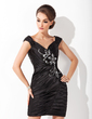 Sheath/Column Off-the-Shoulder Short/Mini Charmeuse Cocktail Dress With Ruffle Beading Sequins (016021155)