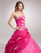 Ball-Gown Sweetheart Floor-Length Taffeta Tulle Quinceanera Dress With Ruffle Beading Appliques Lace Flower(s) Sequins (021016401)