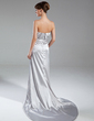A-Line/Princess Strapless Court Train Charmeuse Mother of the Bride Dress With Ruffle Split Front (008015394)