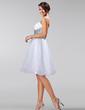 Çan/Prenses Askısız Diz Hizası Taffeta Organza Nedime Elbisesi Ile Büzgü Kuşaklar Boncuklama (007005224)