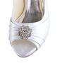 Women's Silk Like Satin Cone Heel Peep Toe Platform Sandals With Rhinestone (047026736)