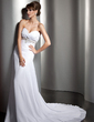 A-Line/Princess Sweetheart Chapel Train Chiffon Wedding Dress With Ruffle Beading Sequins (002011407)