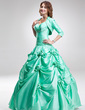 Ball-Gown Sweetheart Floor-Length Taffeta Quinceanera Dress With Ruffle Beading Flower(s) (021002859)
