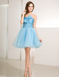 A-Line/Princess Sweetheart Knee-Length Tulle Homecoming Dress With Ruffle (022014231)