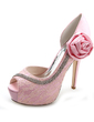 Women's Lace Stiletto Heel Peep Toe Pumps Sandals With Rhinestone Satin Flower (047054644)