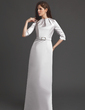 Sheath/Column Scoop Neck Floor-Length Satin Mother of the Bride Dress With Ruffle Crystal Brooch (008006184)