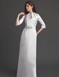 Kılıf Yuvarlak Yaka Uzun Etekli Satin Gelin Annesi Elbisesi Ile Büzgü Kristal Broş (008006184)