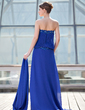 Sheath/Column Strapless Sweep Train Chiffon Mother of the Bride Dress With Lace Beading Pleated (008018975)
