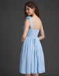 A-Line/Princess One-Shoulder Knee-Length Chiffon Homecoming Dress With Ruffle Flower(s) (022010630)