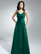 A-Line/Princess V-neck Floor-Length Satin Mother of the Bride Dress With Ruffle (008014947)