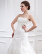 A-Line/Princess Strapless Chapel Train Tulle Wedding Dress With Beading Appliques Lace Bow(s) (002011990)