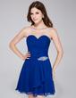 A-Line/Princess Sweetheart Short/Mini Chiffon Homecoming Dress With Beading Cascading Ruffles (022027098)