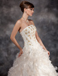 Ball-Gown Strapless Court Train Organza Wedding Dress With Beading Cascading Ruffles (002016934)
